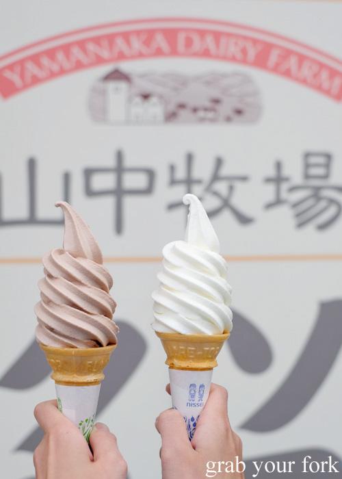 Chocolate and vanilla soft serves at Yamanaka Dairy Farm in Otaru, Hokkaido