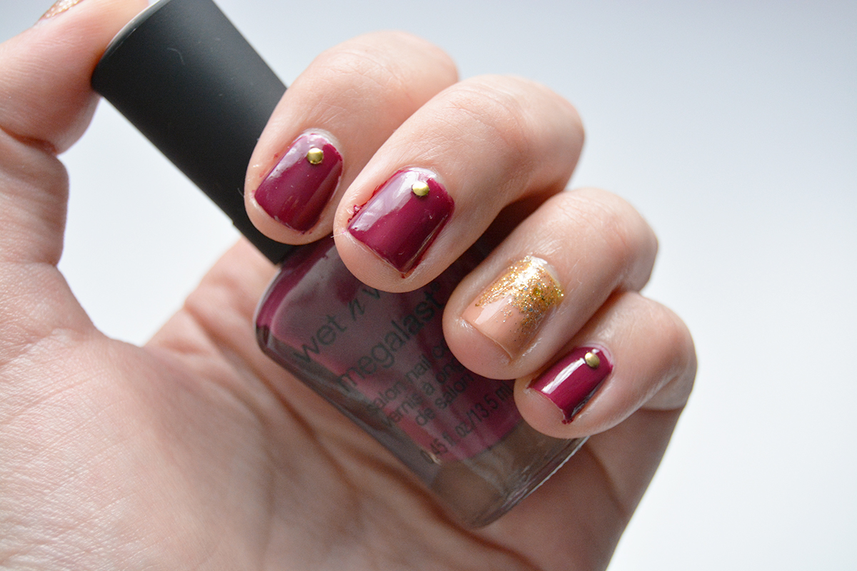 Mani Monday Burgundy Pink And Gold Nail Design A Thing Of Beauty