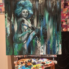 #oil in wood progress for today. next up, hands, feet, add bow and arrow to her back. #aquaBella #commission #painting