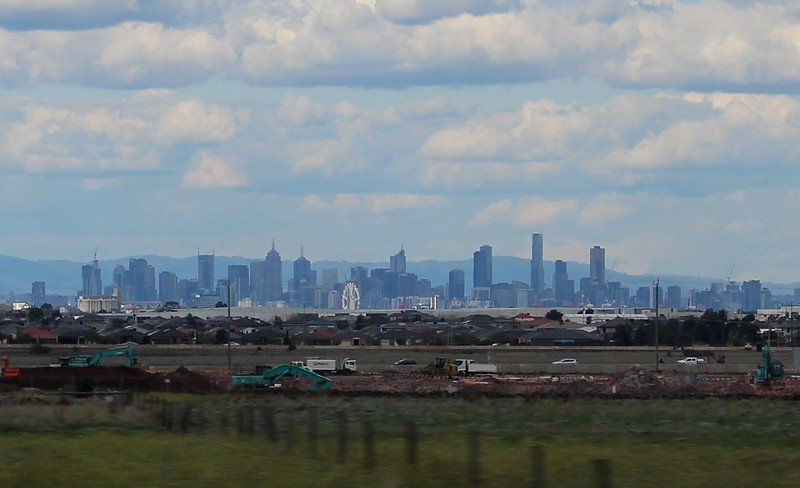 Melbourne city, viewed from Regional Rail Link near Tarneit