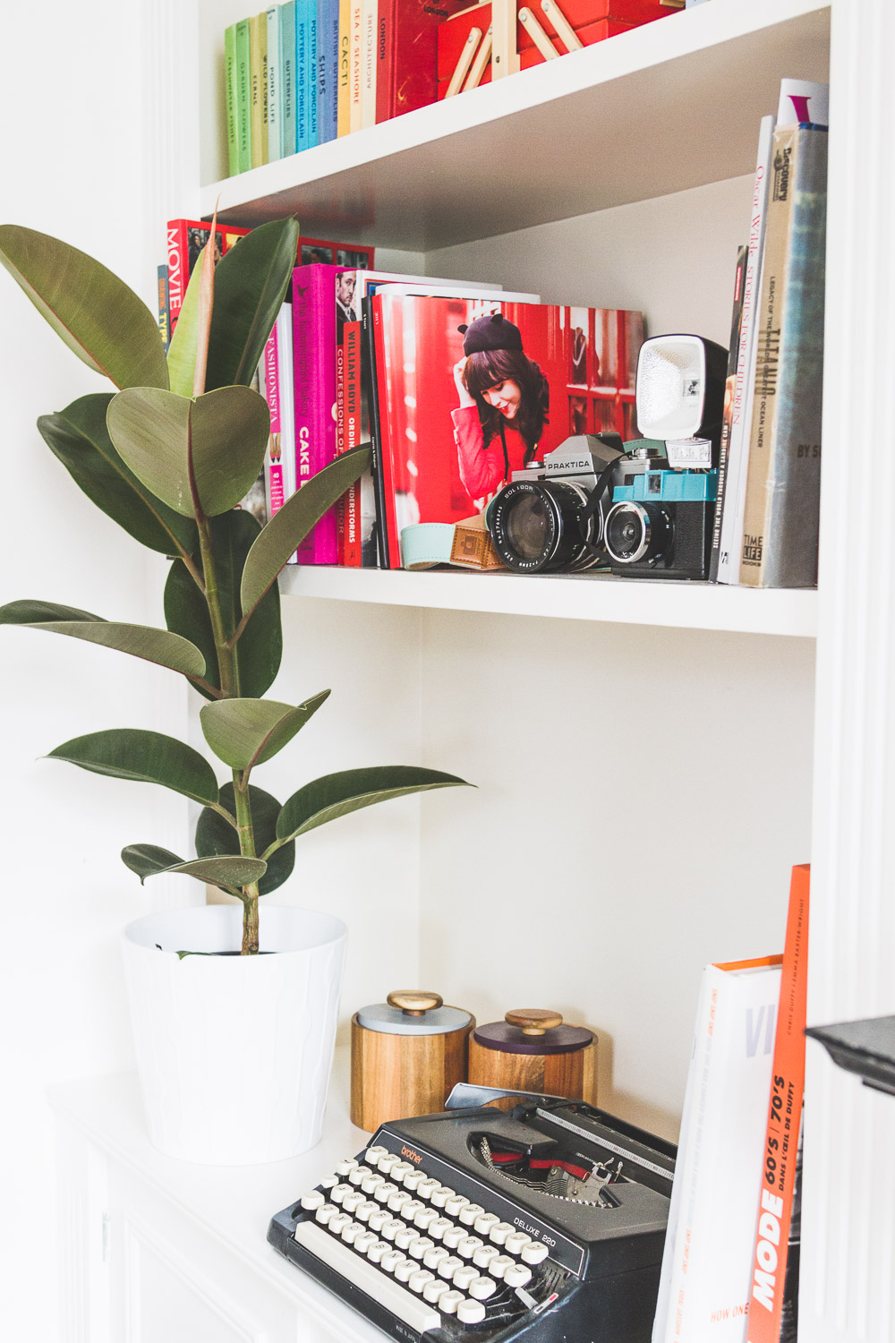 midcentury style colourful home shelves plants