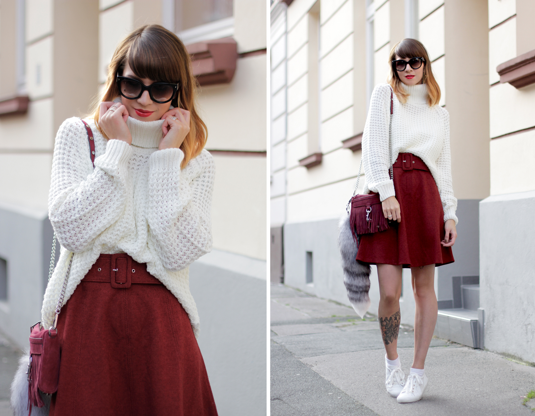 edited the label red burgundy a line skirt seventies soft white knit rebecca minkoff wine bag cross body cats & dogs fashionblogger ricarda schernus blog berlin hannover düsseldorf 1