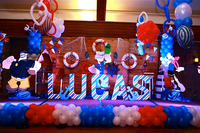 Lucas popeye the sailorman themed party 1st birthday for 1st birthday stage decoration