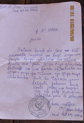 letter from Lieutenant Omari to Tchuma's gang