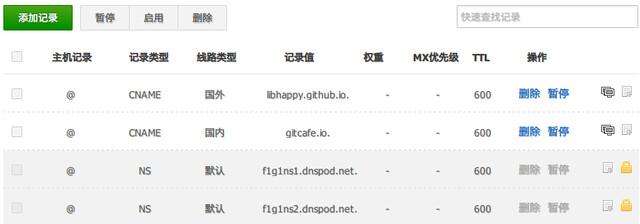 DNSPod域名解析记录设置