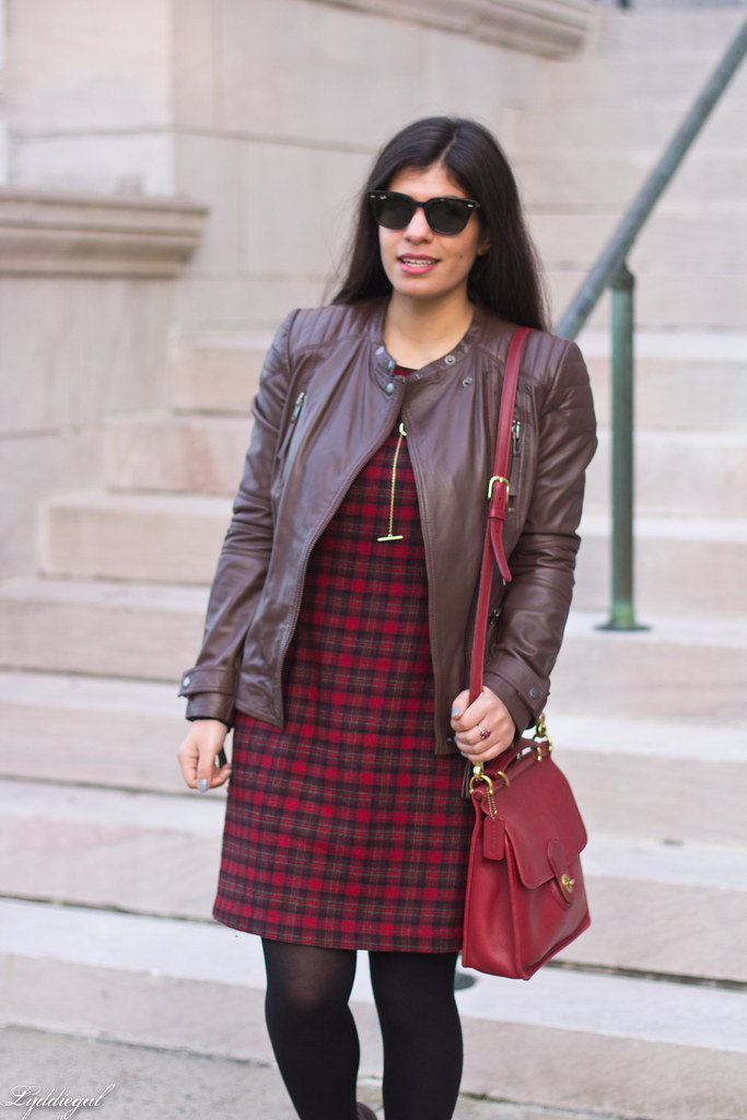 plaid dress, brown leather jacket, brown boots-5.jpg