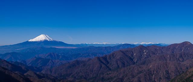 富士と南アルプス@塔ノ岳