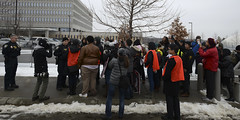 Protesters for release of Minnesota Cambodians stopped at parking lot entrance