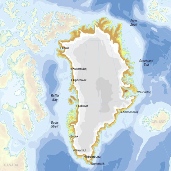 Greenland (Denmark), ice cap, topography and bathymetry ...