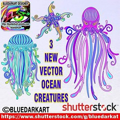 3 NEW #vector #illustrations > #jellyfish, #octopus, #starfish #tattoo #style :shell: #designs #BluedarkArt_Copyright > https://www.shutterstock.com/g/bluedarkat :shell: @shutterstock :shell:  #vectordesign #vectorgraphics #licensesforsale #oceanlife #cre