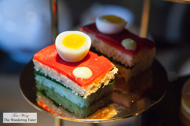 Oeuf de Caille tea sandwich - Quail egg, piquillos, baby spinach, Savora mustard