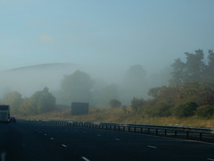 fog, horizon, highway, cloud, road trip, road, hill, haze, controlled-access highway, morning, mist,