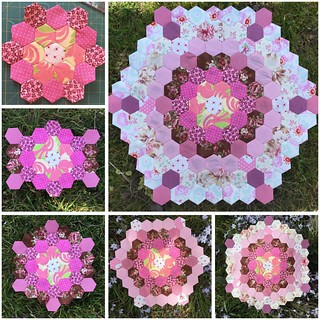 Next step will be a star shape done in rows with lighter points and dark background. I will need to find a name for this. #epp #englishpaperpiecing #patchwork #hexies #pink More details on this project https://mypatchwork.wordpress.com/2015/10/02/english-