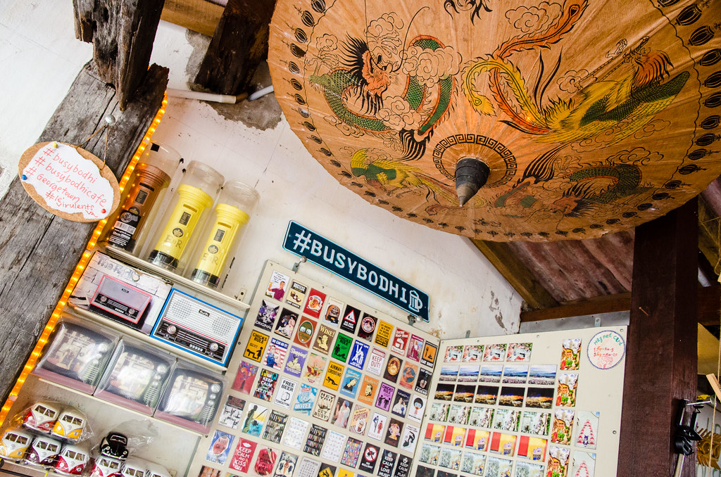 Busy Bodhi Cafe's postcards and souvenirs.