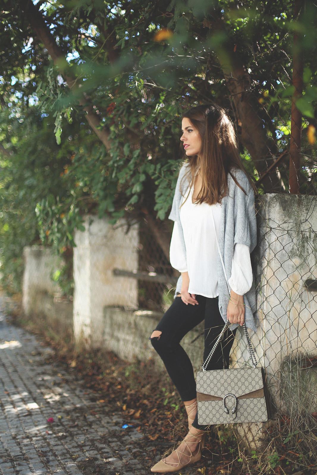8. jessie chanes - grey poncho white boho blouse