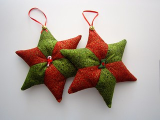 Patchwork star decorations