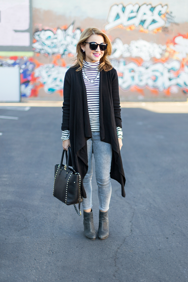 Long Cardigan + Ankle Boots
