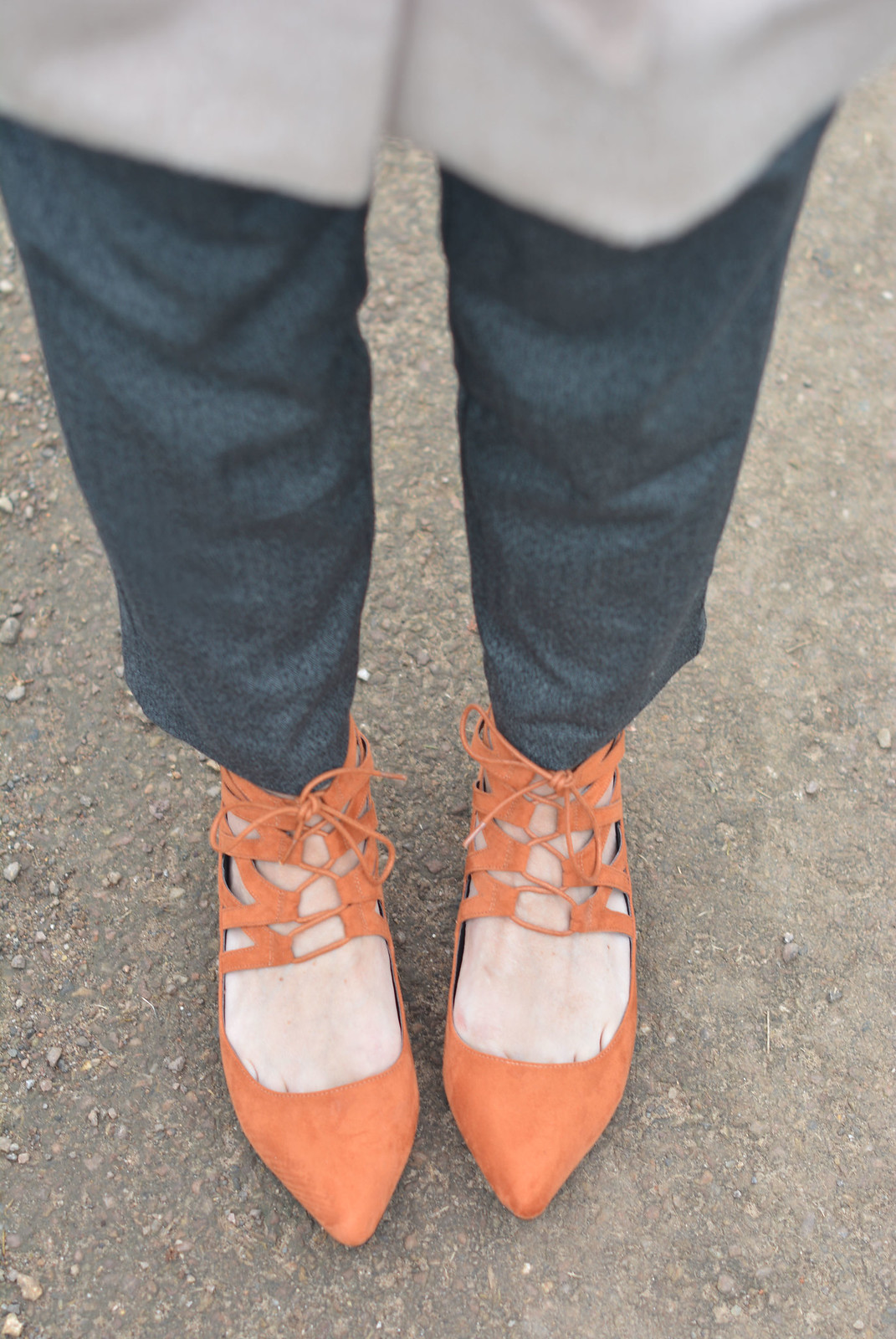 Winter neutrals, orange lace-up flats
