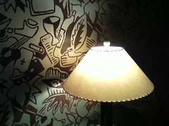 lamp, light fixture, yellow, lampshade, light, lighting,
