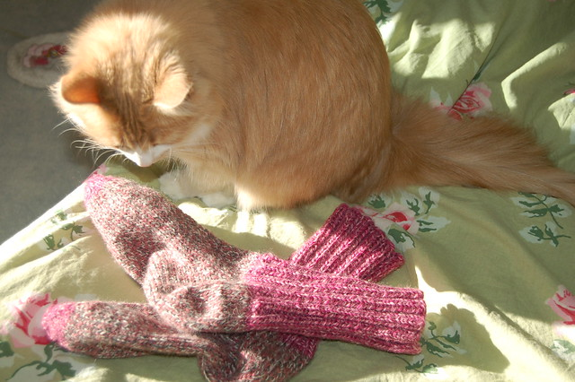 Comfy socks made with left over yarn