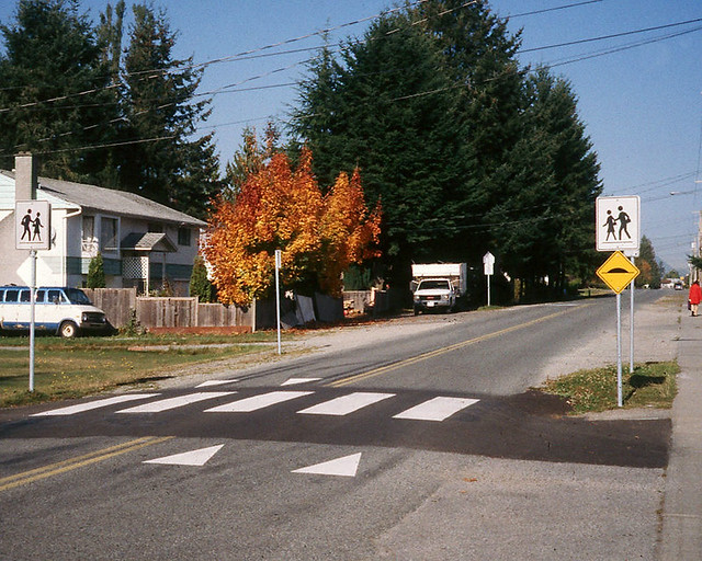 Raised crosswalk on rural cross-section