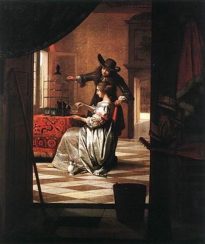 Pieter de Hooch-Couple with Parrot 1668