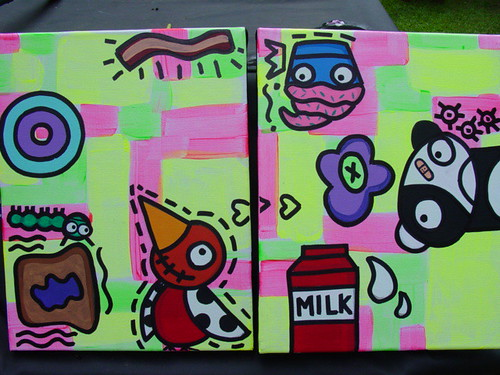 11X14 pair of collab paintings with jelene