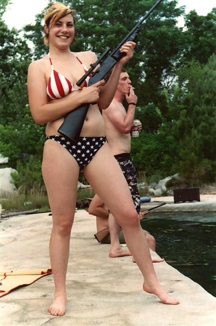 elizabeth - american flag bikini rifle