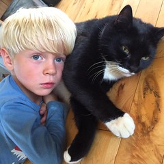 A #boy and his #cat #Fred #Doozer #hugs