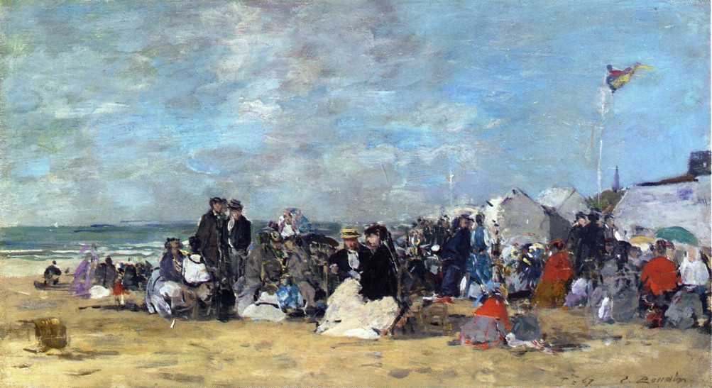 Beach Scene at Trouville by Eugène-Louis Boudin - 1867