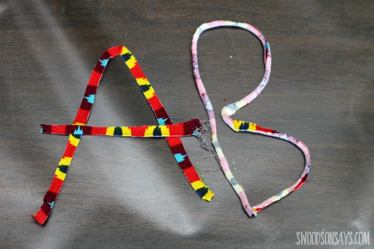 Learning letters with knit fabric scraps