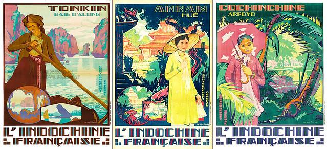 Poster quảng bá du lịch Đông Dương - Các xứ Bắc Kỳ, Trung Kỳ, Nam Kỳ