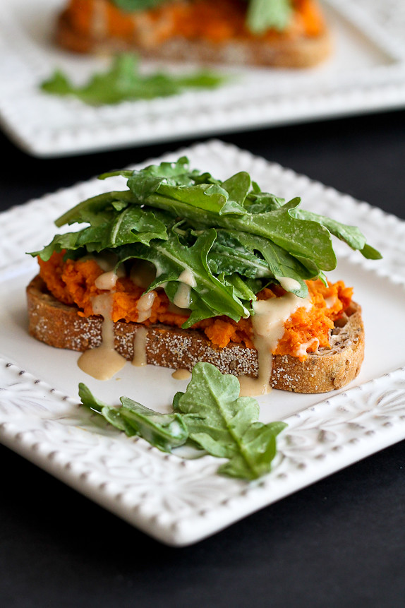 Sweet Potato Toast with Tahini Arugula...Quick and easy vegetarian lunch or dinner. 181 calories and 5 Weight Watchers PP | cookincanuck.com #recipe #vegan