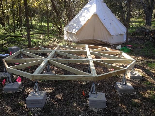 Yurt platform frame complete and leveled.