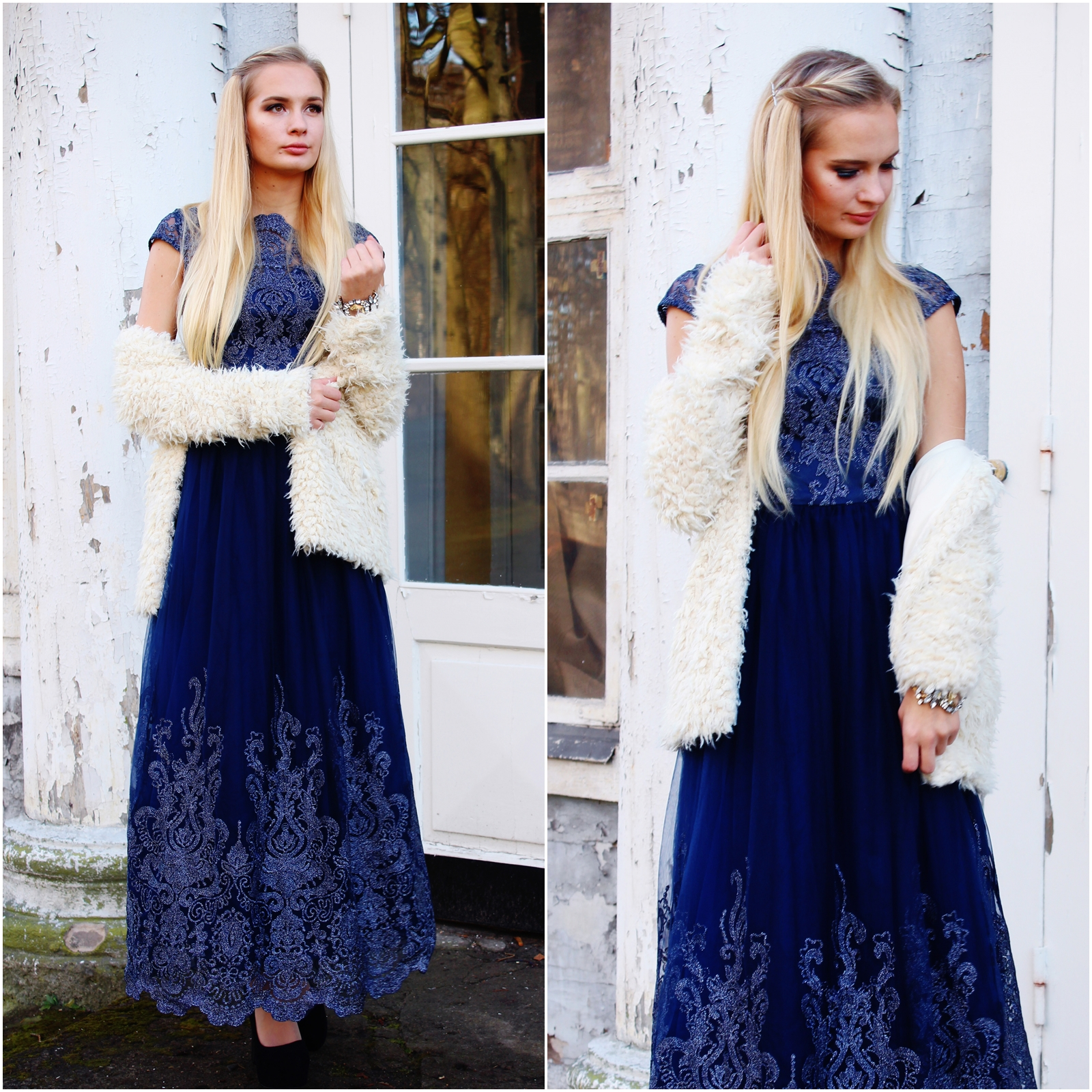 Navy blue baroque inspired dress