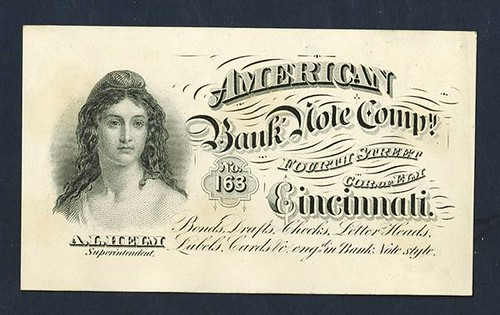 American Bank Note Co. Cincinnati Business Ad Card