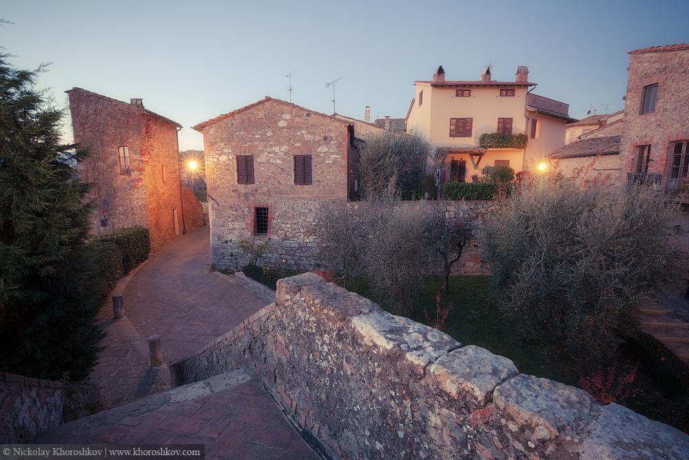 Old european city at twilight