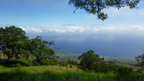 View from Nakula of the snow covered Mauna Kea and Mauna Loa on Hawaiʻi Island
