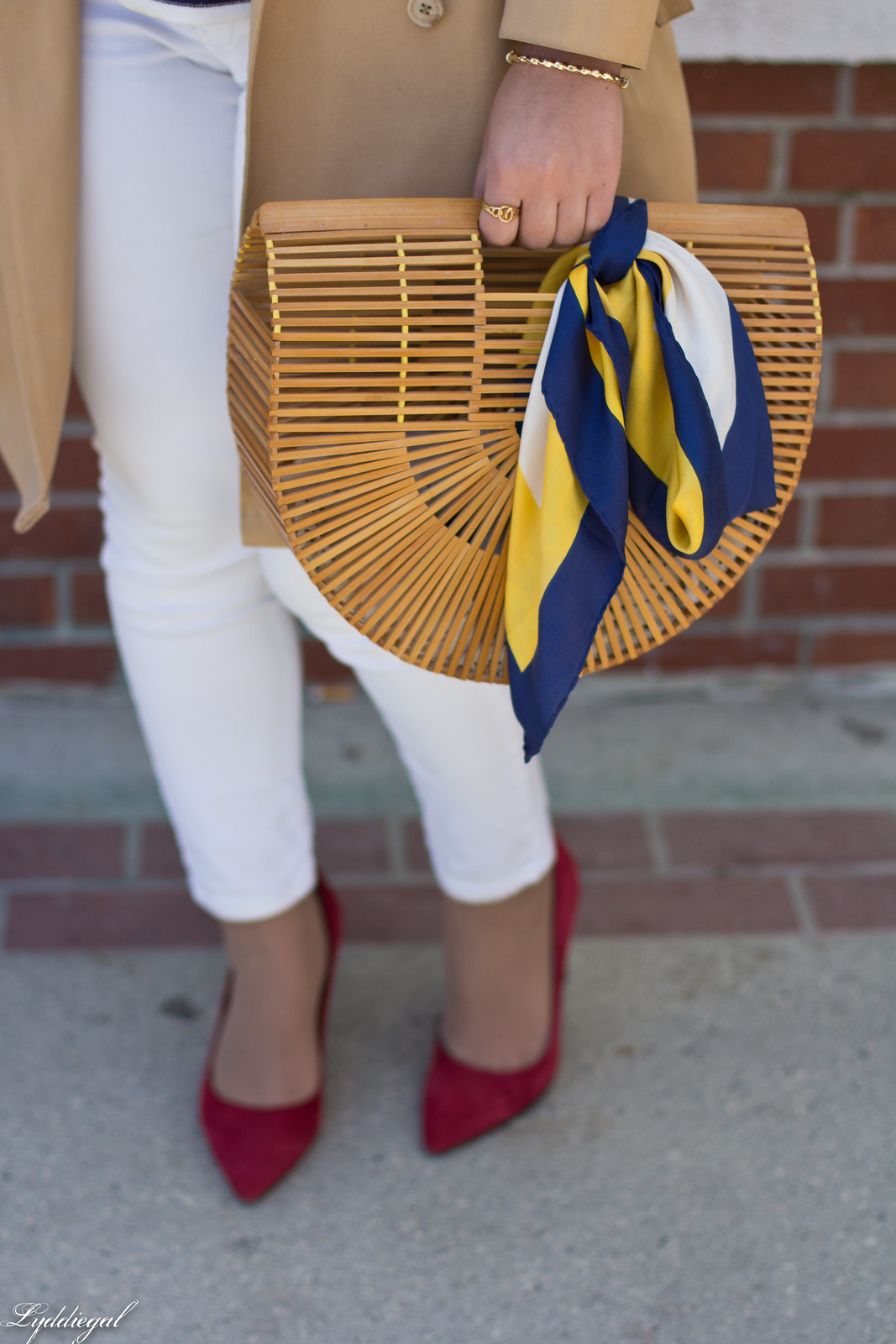 trench, striped shirt, neck scarf, white jeans, bamboo bag-3.jpg