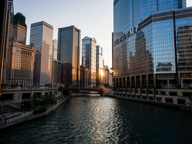 { Chicago River at dusk }