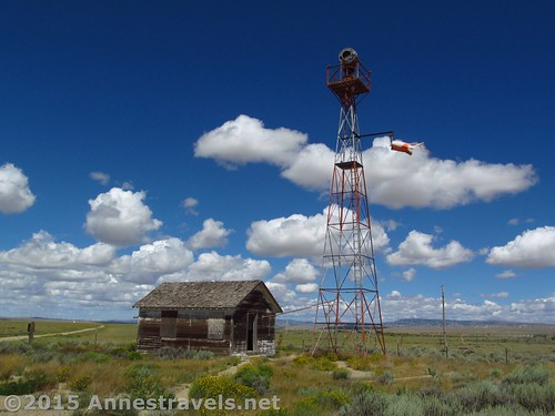 The Medicine Bow Beacon Tower and Generator House, Medicine Bow, Wyoming. The arrow is under the tower.