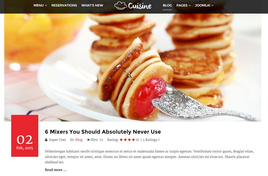 Cuisine – restaurant template for CMS Joomla