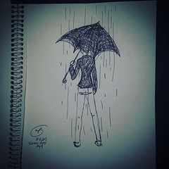 #inktober2015#day4#inktober #umbrella#pen#ink#ballpoint#paper#coat. This is not at all what I was hoping to sketch up. Oh well. #fall#rain