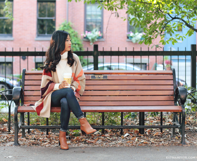 fall casual outfit cable sweater plaid poncho