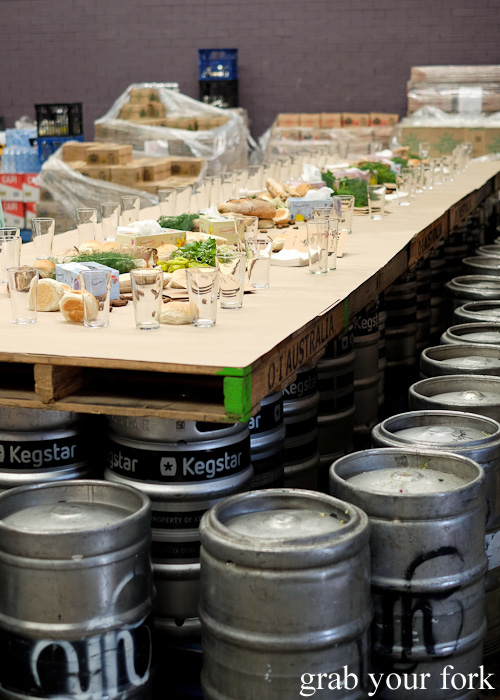 Pallet table and beer keg stools at the Feral Party by Pinbone at Young Henrys for Good Food Month 2015
