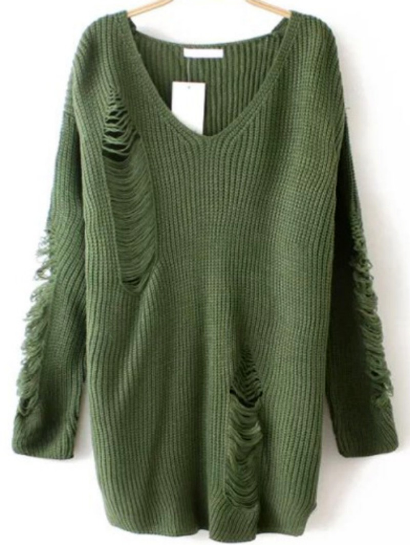 Winter is Coming: SheIn's Army Green V Neck Ripped Sweater