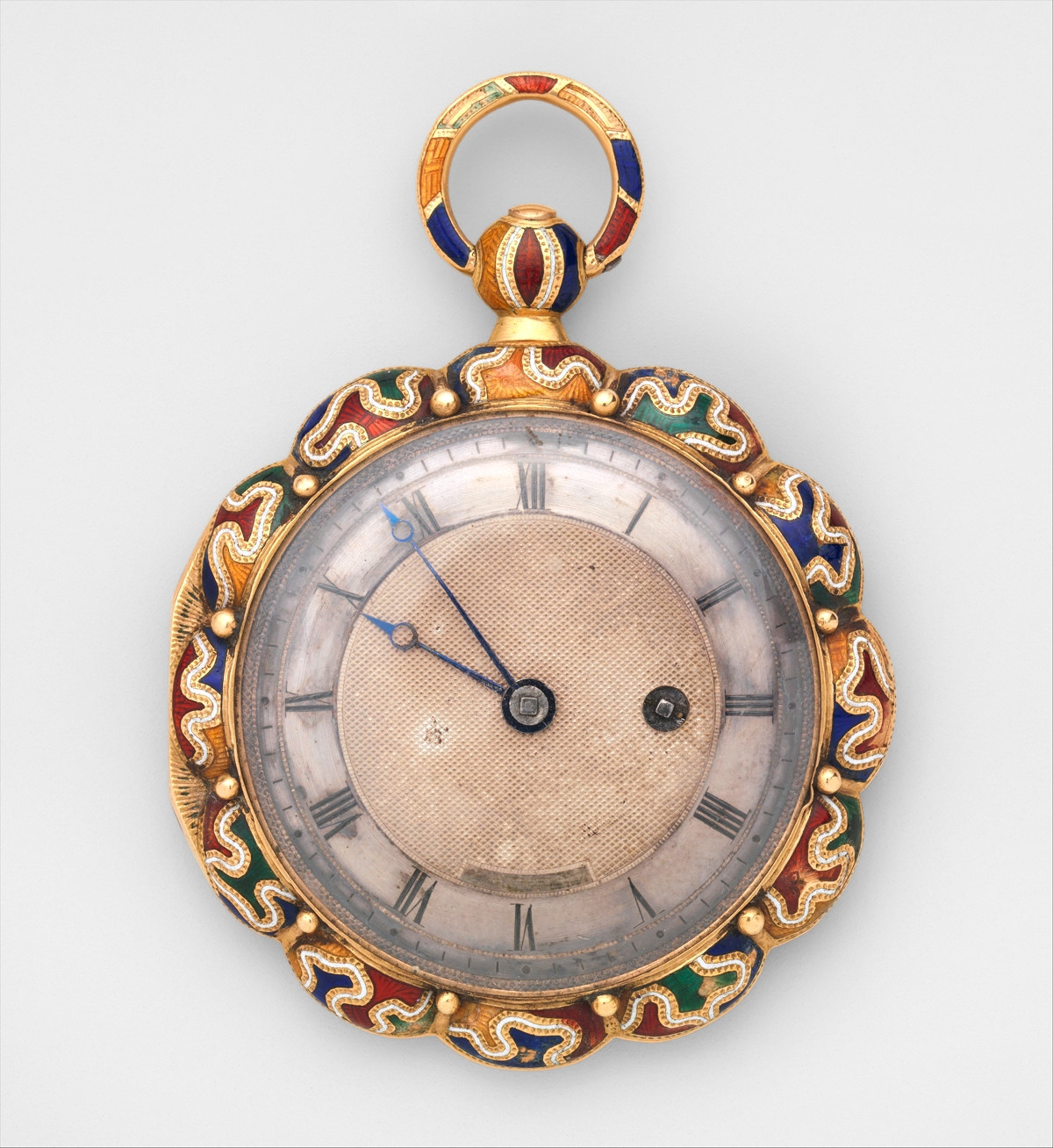 1825. Watch. Swiss, Geneva. Case of gold and enamel; jeweled movement, with cylinder escapement. metmuseum