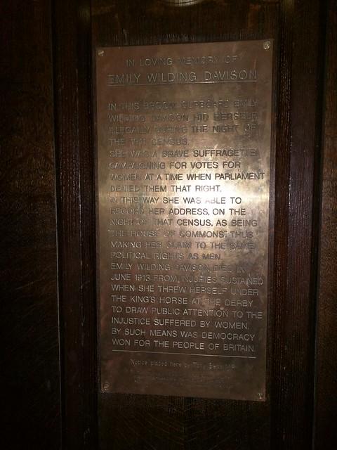 Photo of Emily Wilding Davison brass plaque