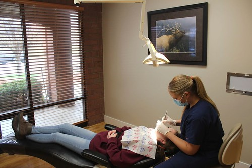 dental hygenist at work