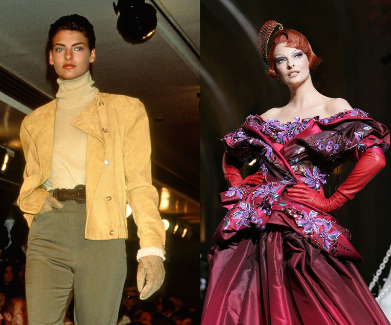 LINDA EVANGELISTA - Walking for Calvin Klein in 1989, and in Dior's Fall/Winter 2008 Haute Couture presentation.